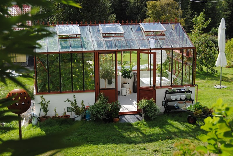 nicely painted and decorated greenhouse