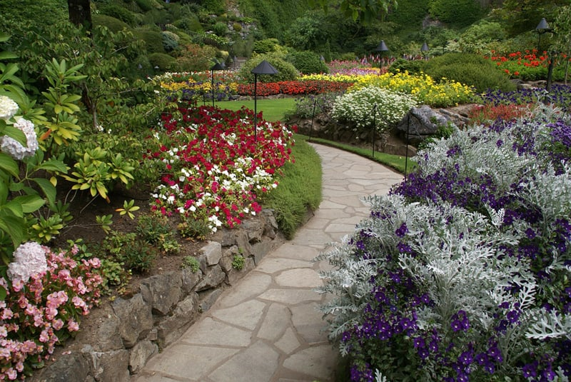 This path from the Butchart Gardens in Victoria, British Columbia uses colored unevenly cut stone to create an interesting design.