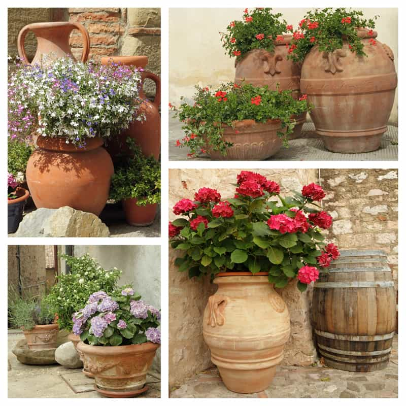 collage of ceramic planters