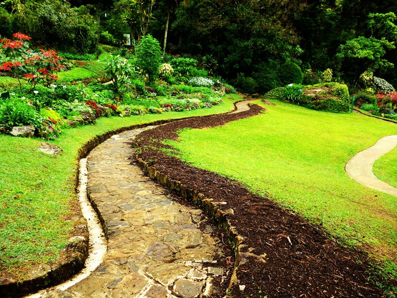 I love how this pathway snakes around the hilly part of this garden. The natural color of the flagstore pavement blends well with the surrounding vegetation.