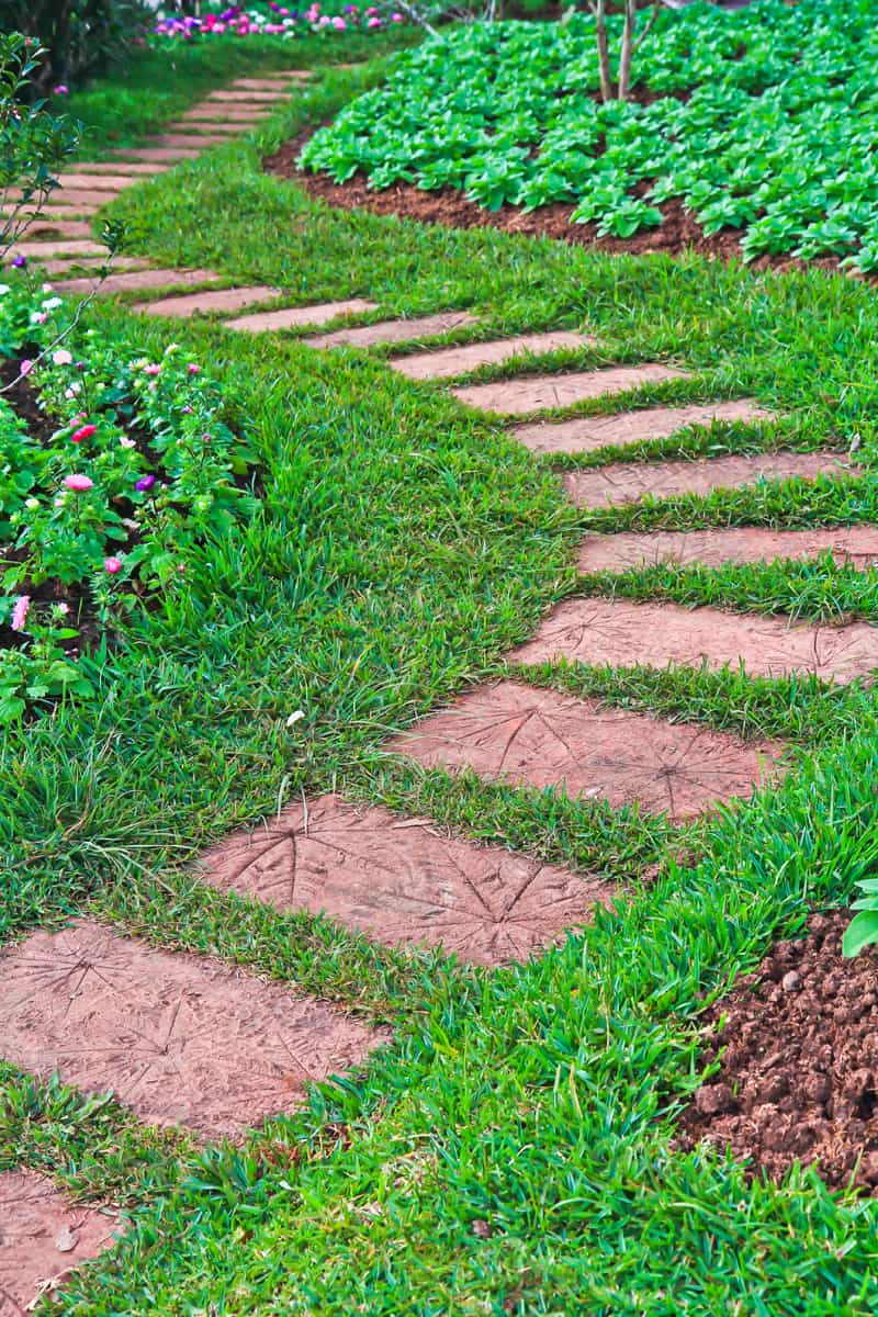 Cover dry patches of grass with pavers to cretae a beautiful walkway