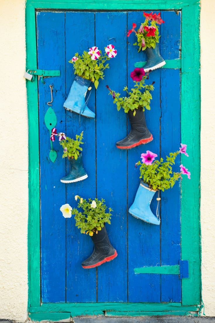 Here's a creative ideas to use rubber boots to plant flowers and decorate your door.