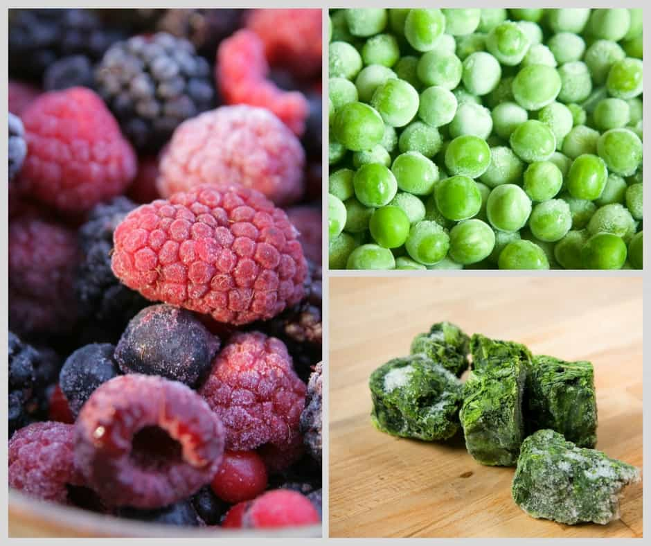 frozed peas, berries and herbs