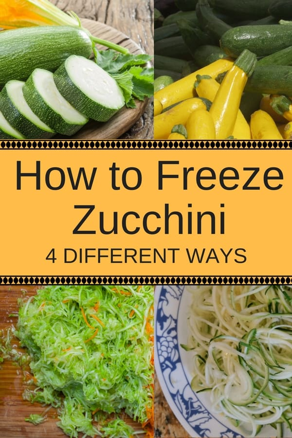 Here's how to freeze zucchini 4 different ways: whole, sliced, shredded and noodles. They'll be ready for cooking and baking delicious healthy recipes in the cooler months. Great for low carb and gluten free recipes.