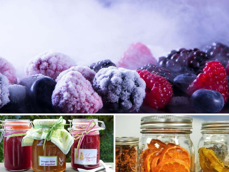 Harvest preserved in 3 different ways: frozen, canned and dehydrated