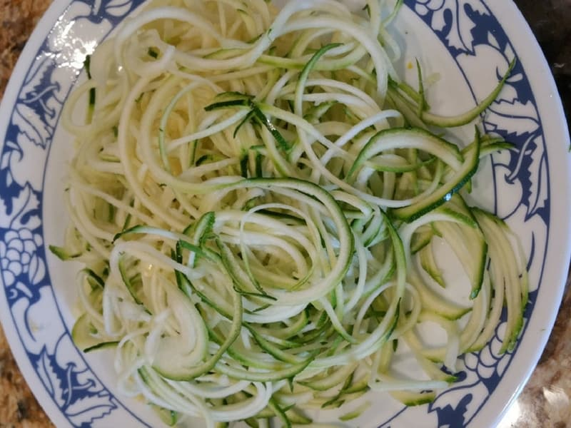 Zucchini noodles, also known as zoodles