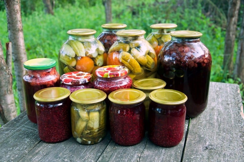 several jars of canned vegetables