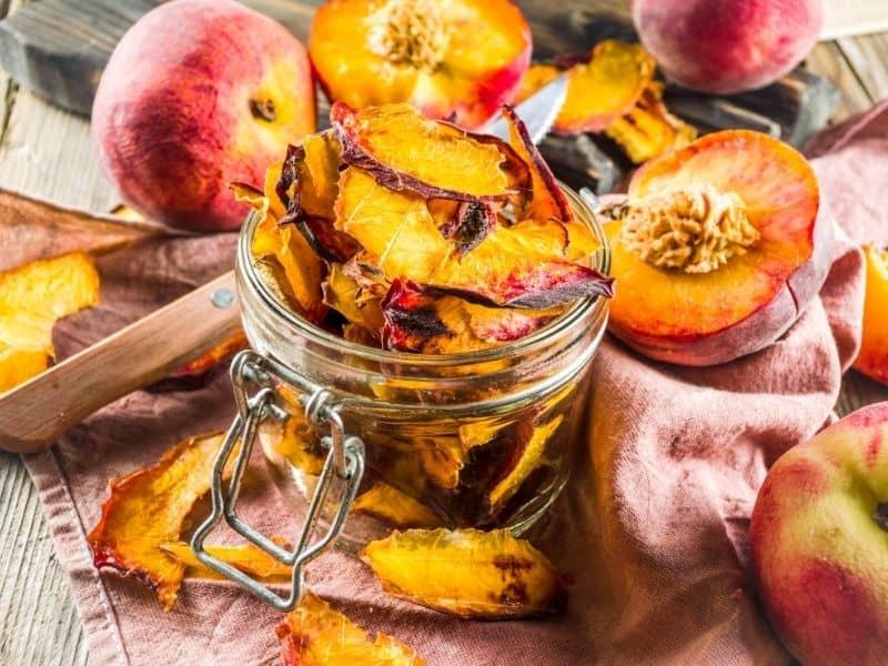 a jar of dried peaches