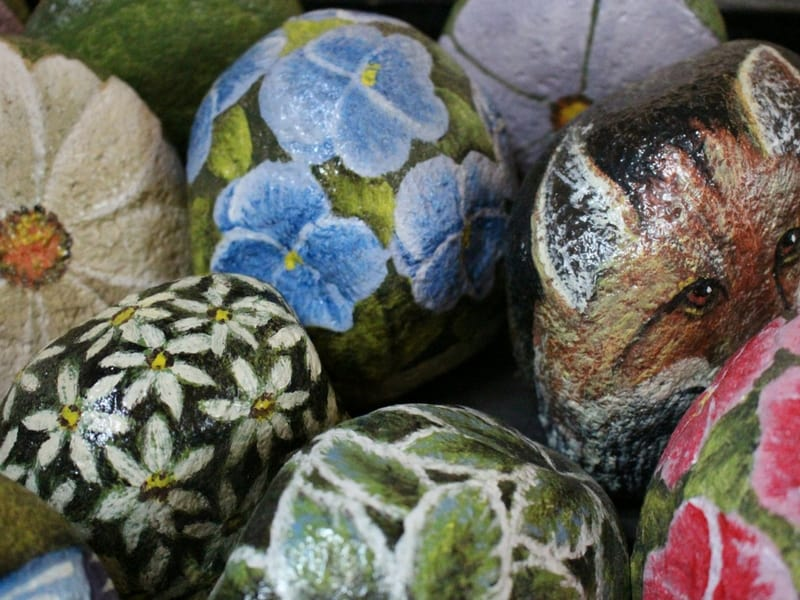 Garden inspired painted rocks