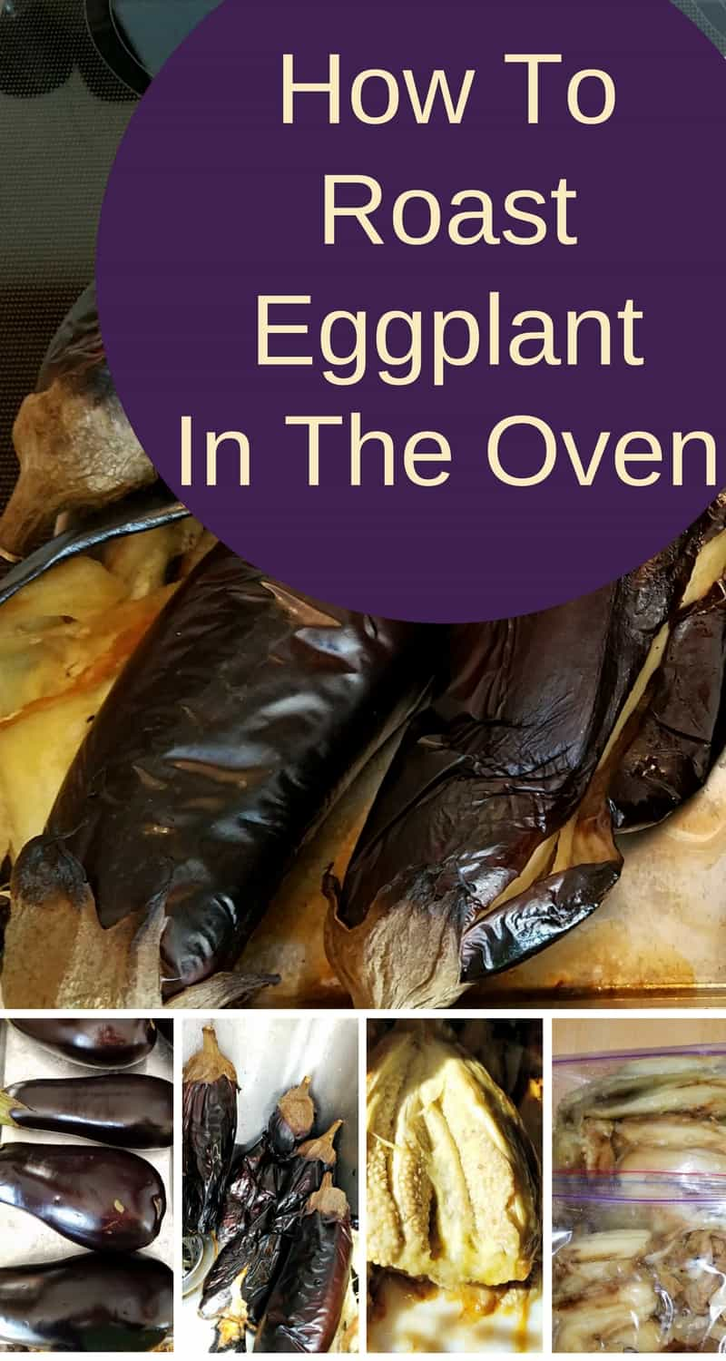 Roasted eggplants are delicious! Here's how to roast eggplants in the oven to use for roasted eggplant spread, sauces, and lasagna. #roastedeggplant #garden #organic #meatless