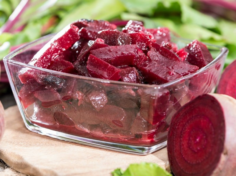 Homemade beetroot salad in a small bowl