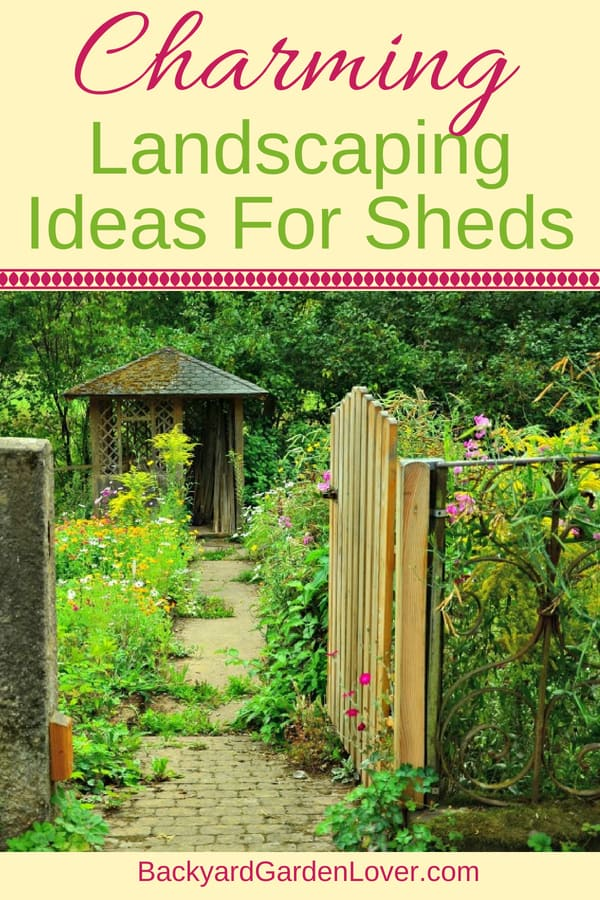 Check out these charming landscaping ideas for sheds: simple DIY was to beautify the outside of your storage shed. Add a bit of curb appeal with these gorgeous flowers and shrubs, and enjoy county living at its best. #landscaping #landscape #flowers #countryliving #sheds #storagesheds #curbappeal #shrubs