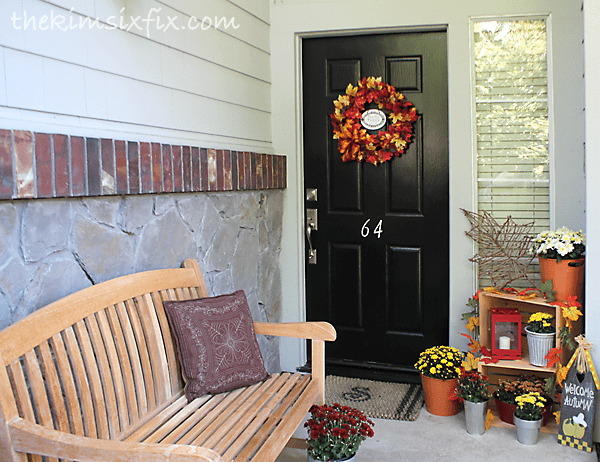 Fall decorated front porch