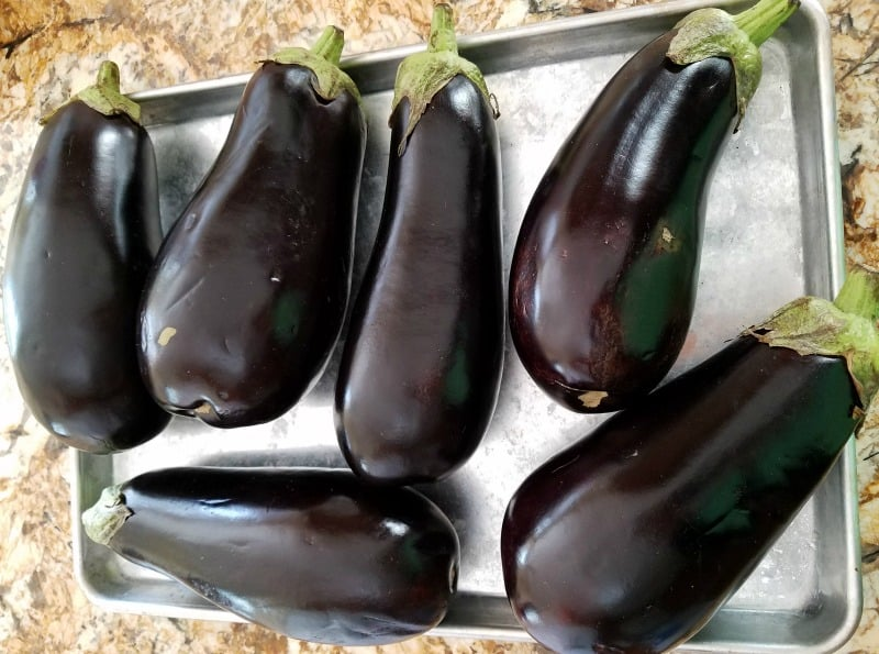 Fresh eggplants ready to roast