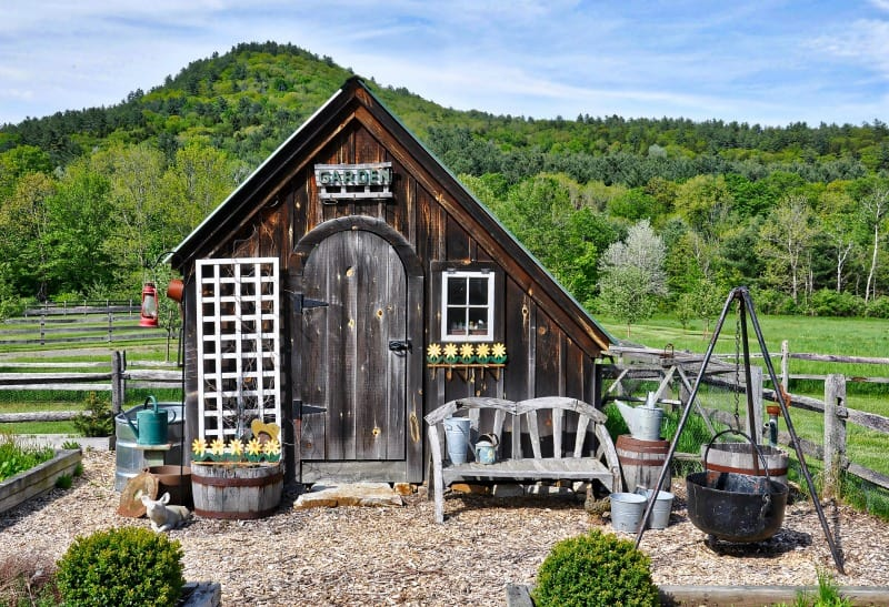 Country shed with a beautiful view