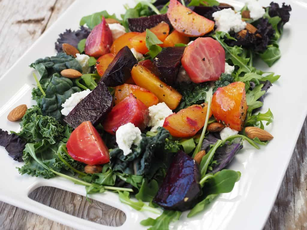 Roasted vegetables salad with beets