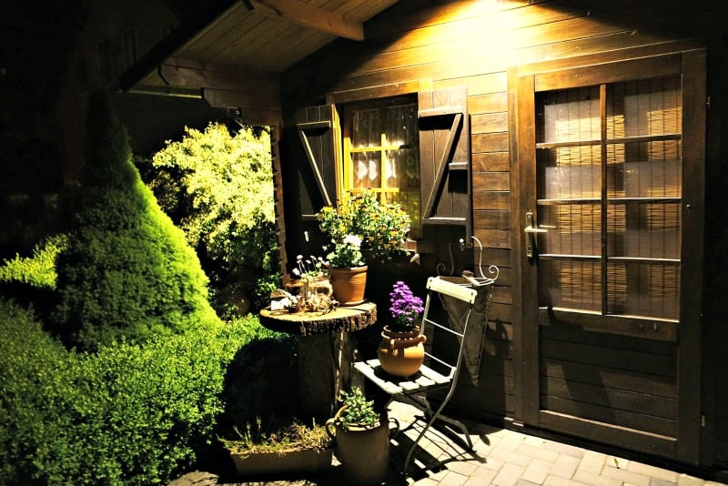 Storage shed with patio