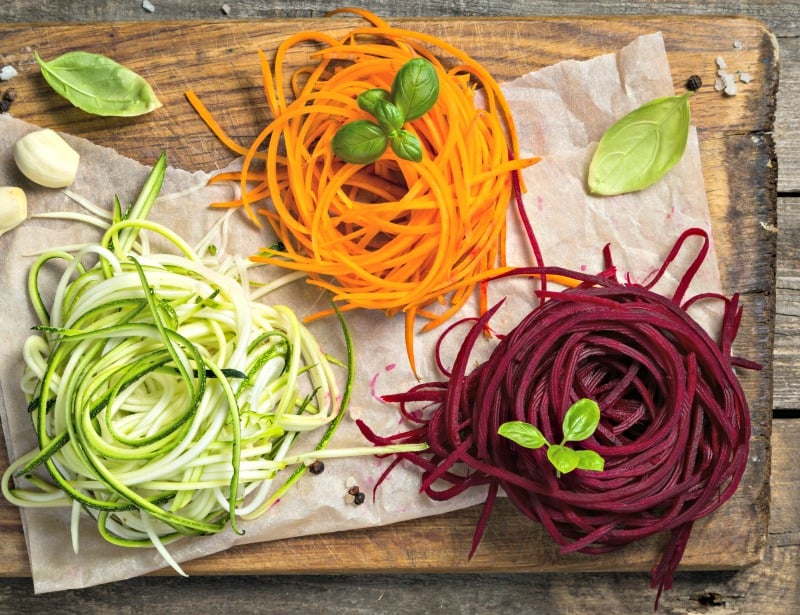 zucchini, carrot, and beet noodles