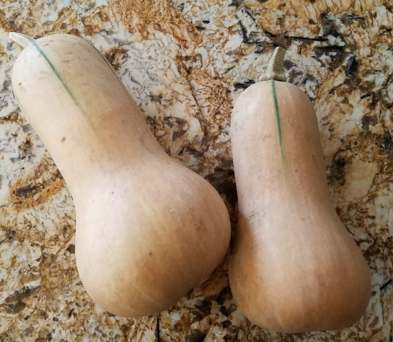 2 medium butternut squash ready for soup