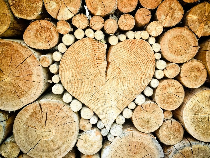 Heart shaped firewood pile
