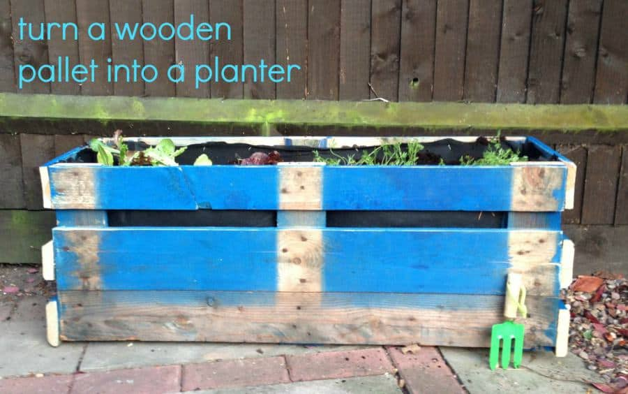 Pallet made into a planter