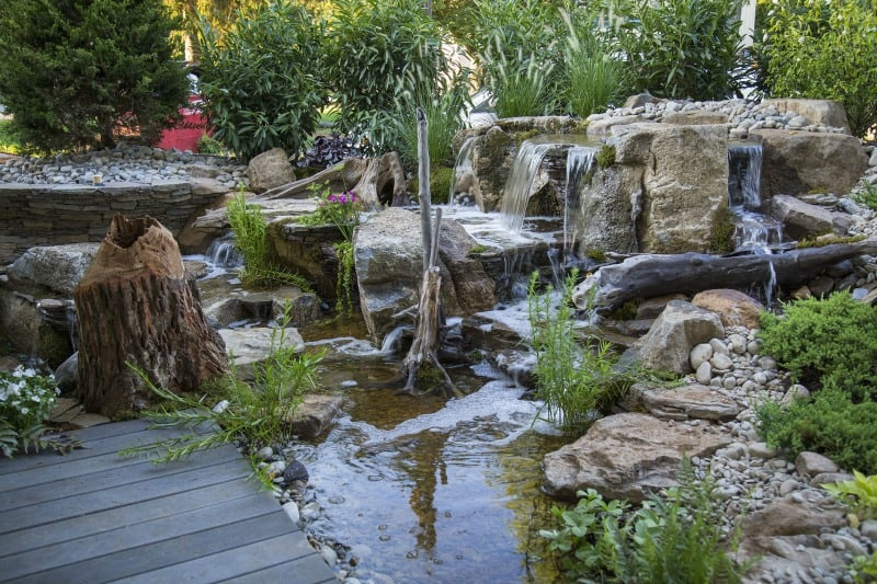 Backyard rock waterfall