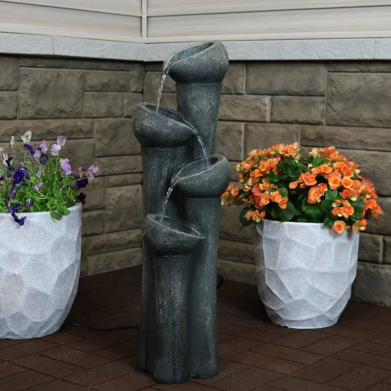 Sunnydaze tiered flowing bowls water fountain