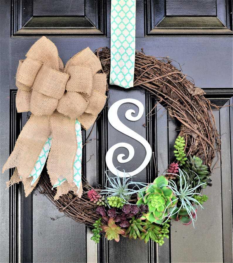 succulent wreath on a door