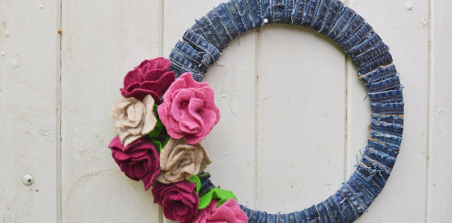 Upcycled sweater roses and denim wreath