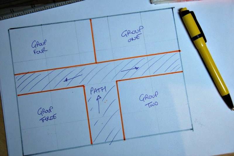 Square garden plan sketch