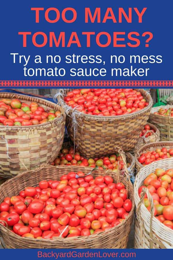 Are your tomatoes ripening all at once? Take some time to preserve them for later. Try a tomato sauce maker machine to make your job easier and faster. then either can or freeze them for a delicious treat next winter. #tomatoes #tomatosauce #tomatosaucemachine #canning #freezing #harvest