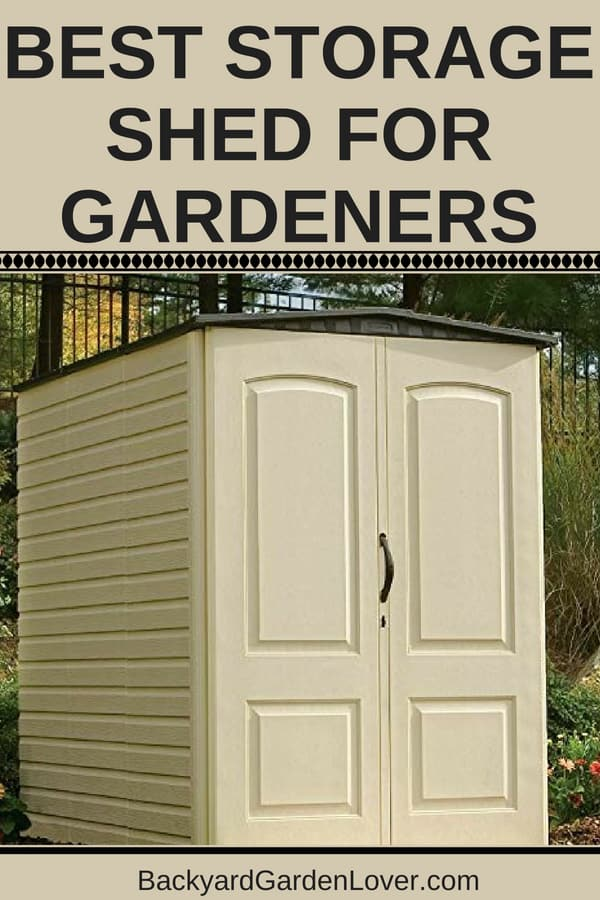 Tan colored storage shed