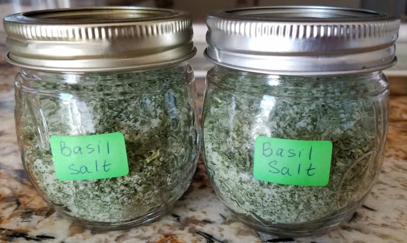 Basil salt in small jars