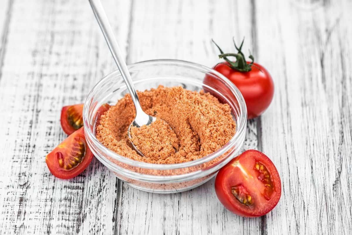 tomato powder in a glass bowl