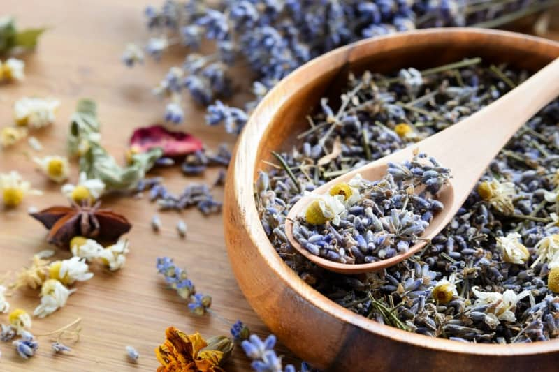 Dried lavender and chamomile flowers