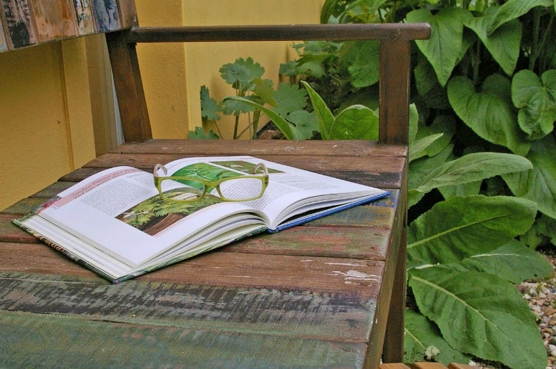 Gardening book on bench