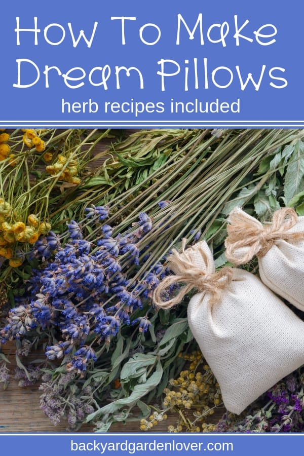 Making dream pillows is fun to do on a cold day with your kids. Learn how to easily make DIY herbal dream pillows you can use yourself or give as gifts. Lots of ideas and a few recipes included here. #dreampillows #herbalpillows #dryherbs #naturalremedies #bettersleep #naturalsleepremedies #dreams #DIY #homemade