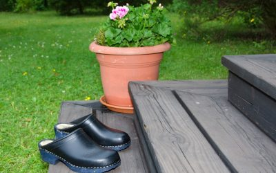 Clogs and flower pot on the stairs