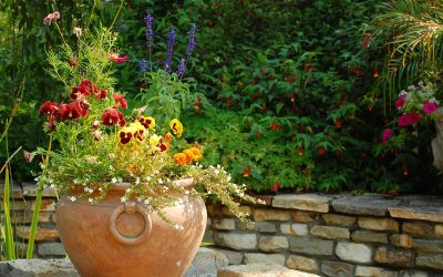 Large outdoor planter with bright flowers