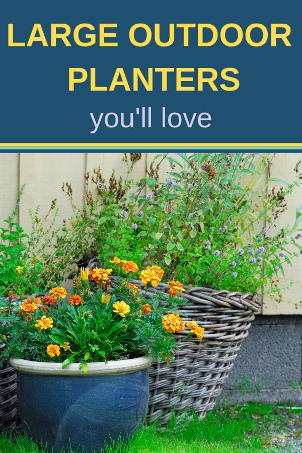 Large outdoor planters are very versatile: from adding instant curb appeal to creating a cozy atmosphere on your back porch, you can fill them with flowers, herbs, vegetables, and even trees and shrubs. Add a couple colorful planters to your entryway, and you are ready for guests ;) #outdoorplanters #containergardening #balconygarden #planturns #curbappeal #landscaping #gardening #gardenplanters