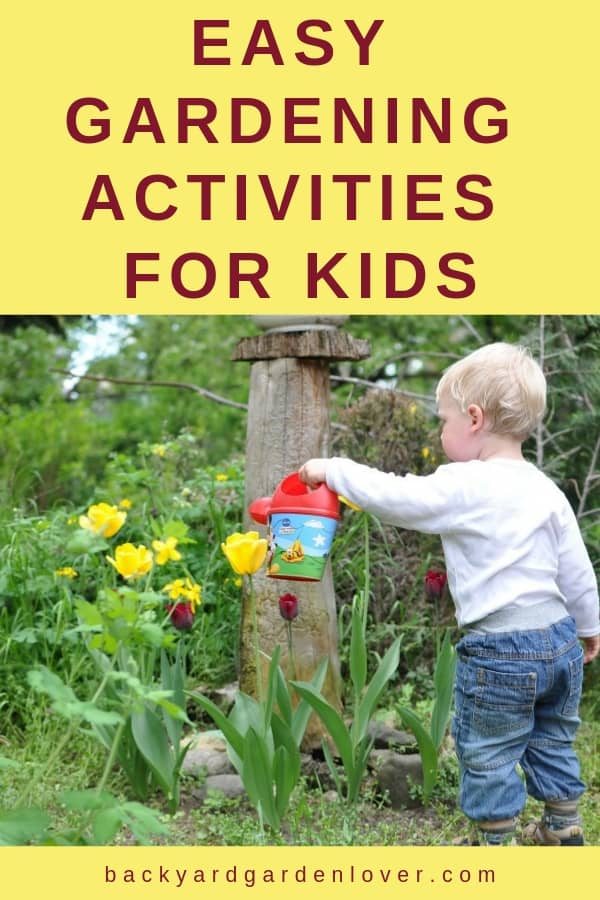 This spring, get your children involved in the garden. Here are 5 easy gardening activities for kids you can try. #gardeningwithkids #kidsgardening #gardening #kidssummeractivities #gardenchores #kidsdiggingdirt #wateringplants