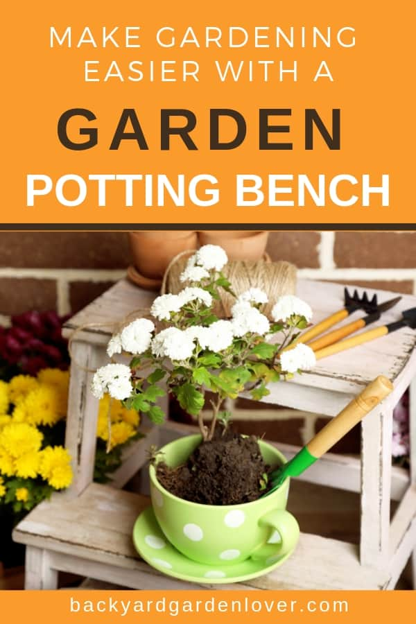 If you don't have a garden potting bench, you're missing out! You can buy one already made, or you can create your own , if you are a DIY person. add some shelves, a sink, and some storage, and you have a perfect workstation for the garden. #gardening #pottingbench #gardener #gardeningtips #gardenaccessories #gardeningbench