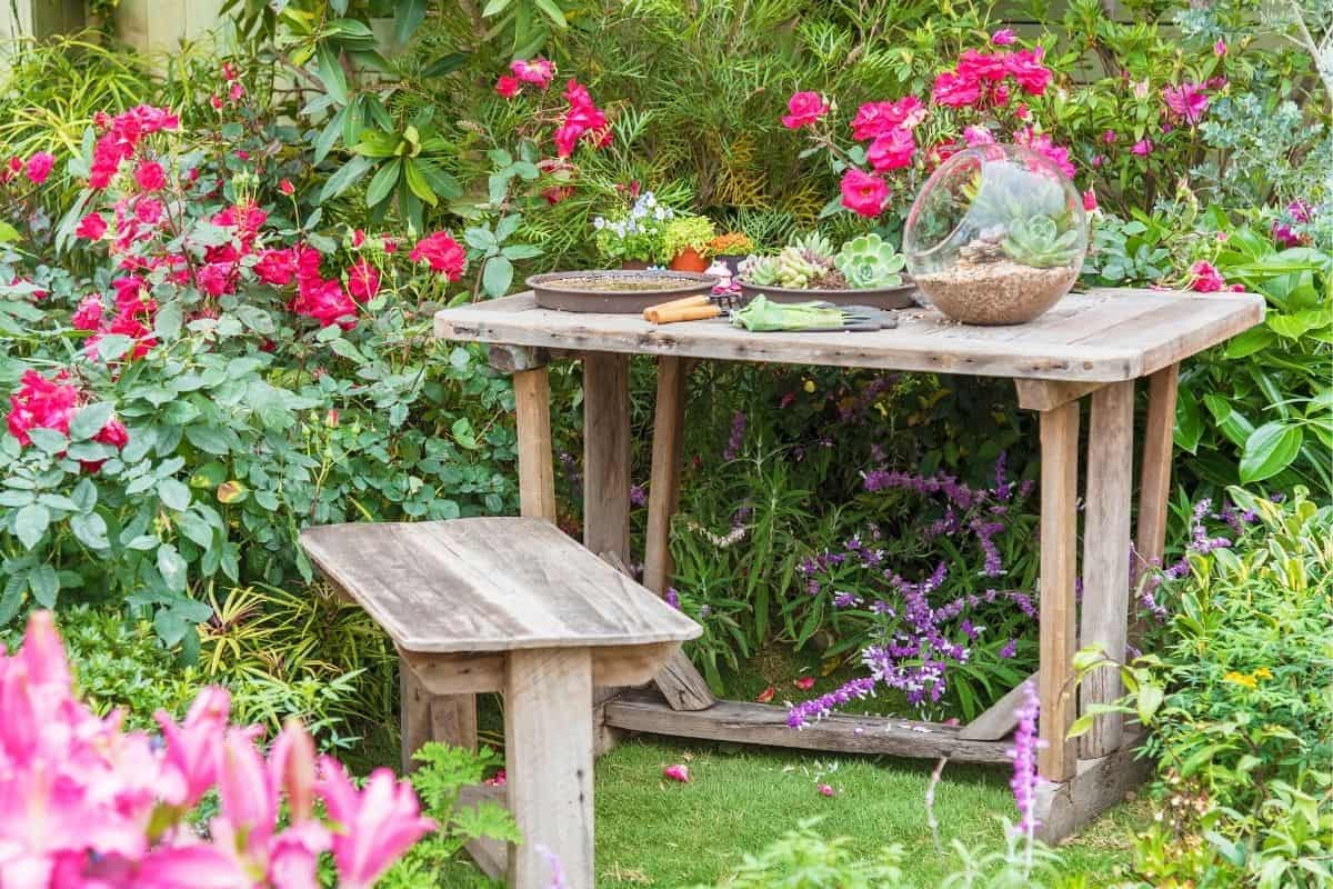 potting bench in the garden
