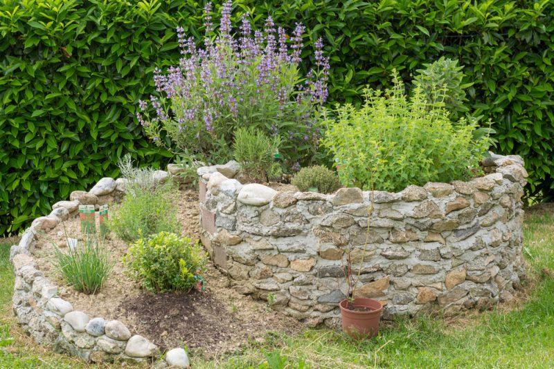 Spiral stone herb garden