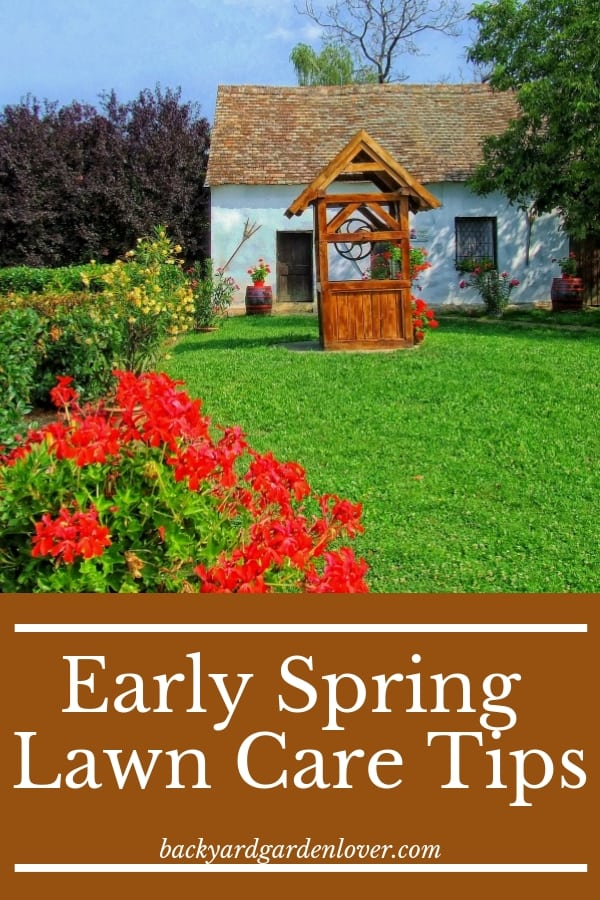 Give your lawn a little boost with these 5 early spring lawn care tips. #lawncare #lawn #spring #landscape #homestead