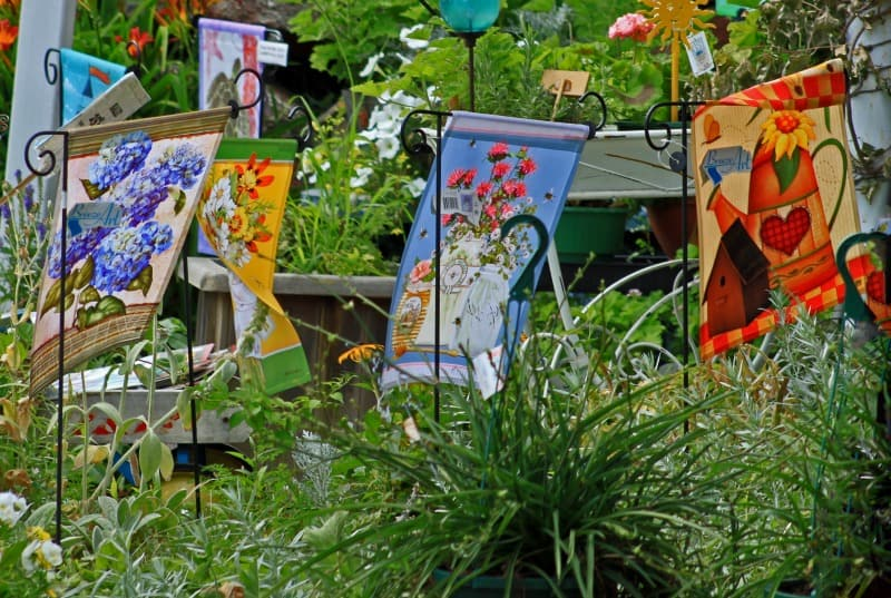 Colorful garden flags