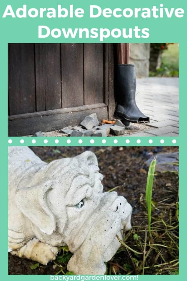 Need a fun way to direct water away form your home's foundation? These adorable decorative downspouts will make you smile. Take a peek at these fish, alligators, birds and squirrel downspouts for the rain gutter. #downspout #downspoutlandscape #landscapingideas #decorativedownspouts #raingutterextensions #cutedownspoutideas