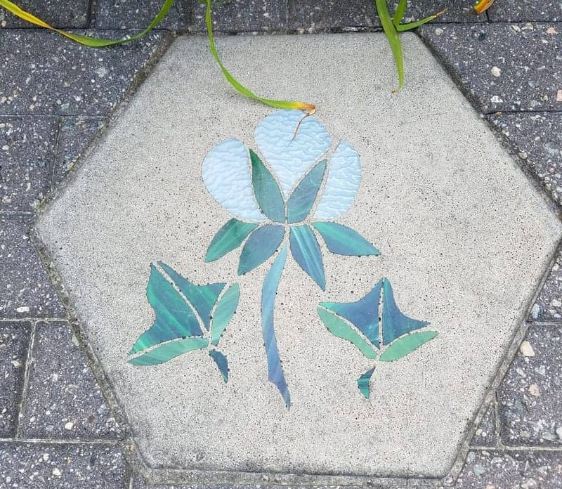 Beautiful white flower stepping stone