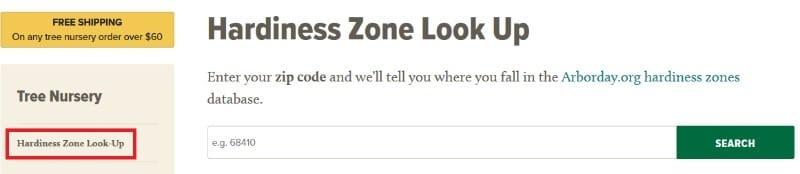 Hardiness zone lookup