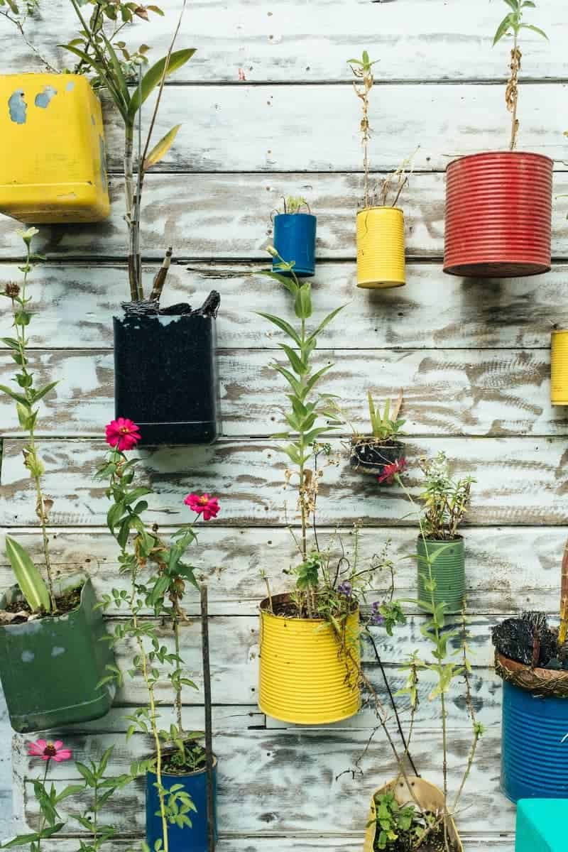 Recycled vertical hanging garden